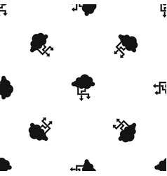 cloud and arrows pattern seamless black vector image
