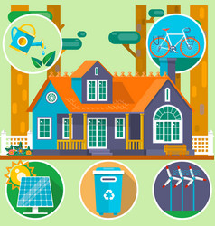 Ecological house in the forest clean environment vector