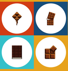 Flat icon bitter set of wrapper cocoa dessert vector