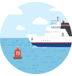 Flat ocean and sea transport boat vector