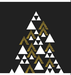 Gold geometric christmas tree symbol isolated on vector