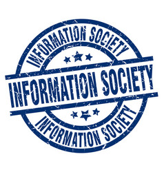 Information society blue round grunge stamp vector