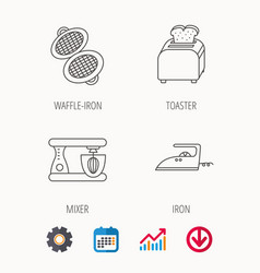 Iron toaster and blender icons vector
