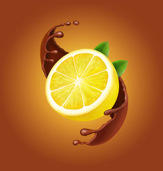 Lemon with leaves and chocolate splash realistic vector