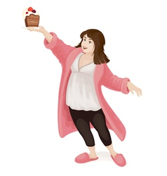 Obese girl with cake vector