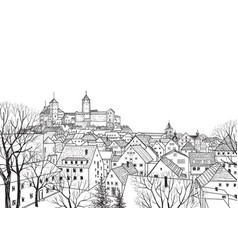 Old city view medieval castle landscape german vector