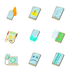 Phone disassembled icons set cartoon style vector