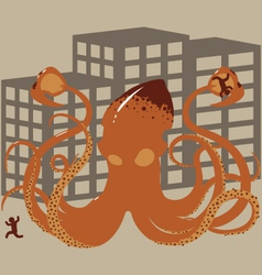 Rampaging giant squid vector