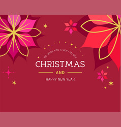 red christmas greeting card with red background vector image vector image
