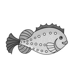 sea fish icon in monochrome style isolated on vector image
