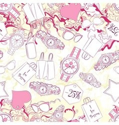 Seamless pattern with wrist watches and fashion vector image