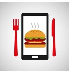 smartphone order burger food online vector image vector image