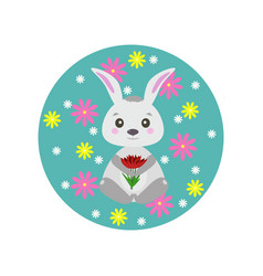 Spring rabbit with flowers vector