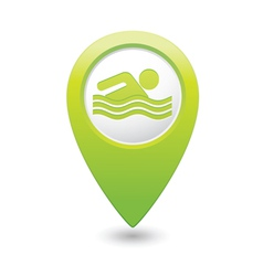 swiming icon green map pointer vector image vector image