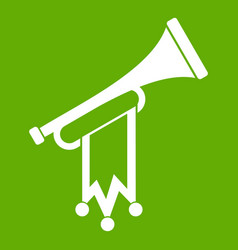 trumpet with flag icon green vector image