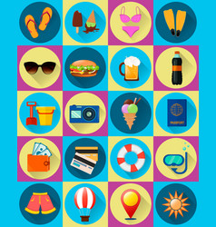 Twenty summer icons flat style vector