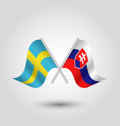 Two crossed swedish and slovak flags vector