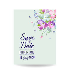 wedding invitation template with spring flowers vector image vector image