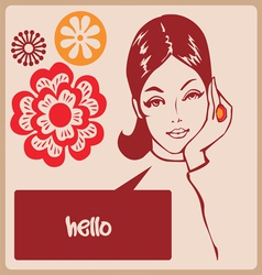 Woman retro comics style post card vector image