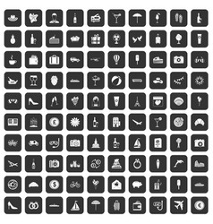 100 honeymoon icons set black vector