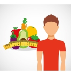 man with fruit icon design vector image