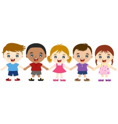 Multicultural children hand in hand vector