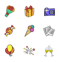 Birthday party icons set cartoon style vector