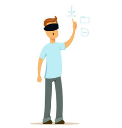 Man in virtual reality glasses working on startup vector