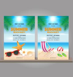 Set of summer beach party design template vector