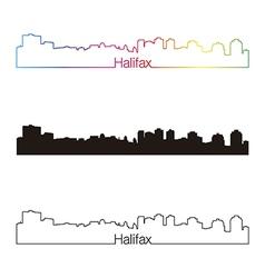 Halifax skyline linear style with rainbow vector