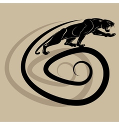 The silhouette of a black panther on a spiral vector