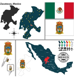 Map of Zacatecas vector image