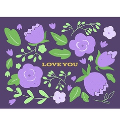 Floral wedding or valentines day card vector