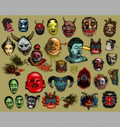 East  asian masks vector