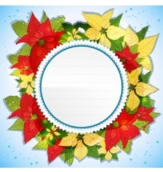 Floral decorative card with poinsettia vector