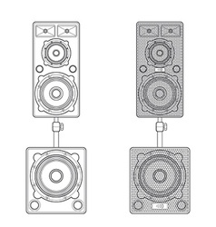 Outline loudspeakers stand subwoofer pair vector