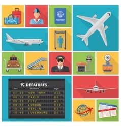 Airport decorative flat icons set vector