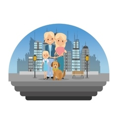 Parents with daughter icon family design city vector