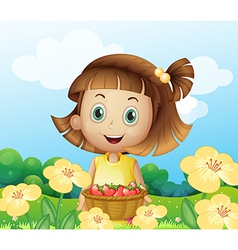 A girl holding a basket of fruits vector image vector image