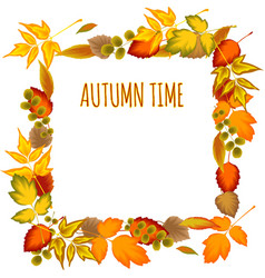 Autumn leaves decorative frame vector