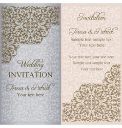 Baroque wedding invitation patina vector