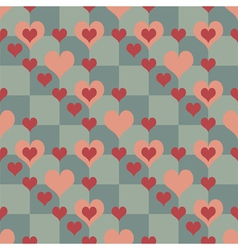 Chequered pattern with hearts vector