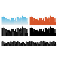 City icons set on white vector