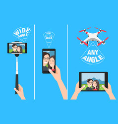 couple making selfie with drone selfiestick and vector image