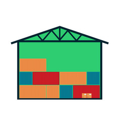 Delivery icon with warehouse building vector