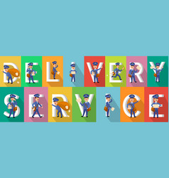 Delivery service colourful picture collection vector