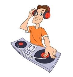 Dj playing music 2 vector image