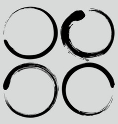 Enso zen circle brush set vector