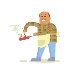 Fat bald man with frying pan vector