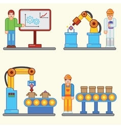 Flat info graphic factory production vector